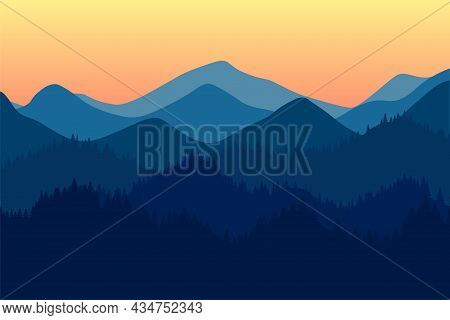 Mountains Range Morning Or Evening Landscape With Fog And Forest. Sunrise And Sunset In Mountain Roc