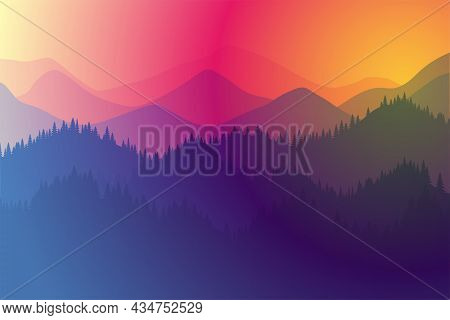 Mountains Range Morning Or Evening Landscape With Fog And Forest. Sunrise And Sunset Play Of Colors