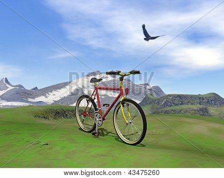 Red Mountain Bike - 3D Render
