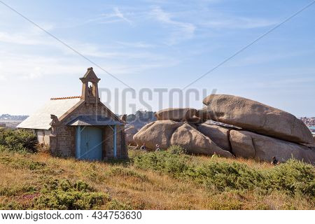 Perros-guirec, France - September 21 2021: The Devil's Chapel Along The Customs Path In Ploumanac'h.