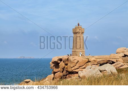 Perros-guirec, France - September 21 2021: The Ploumanac'h Lighthouse Is An Active Lighthouse In The