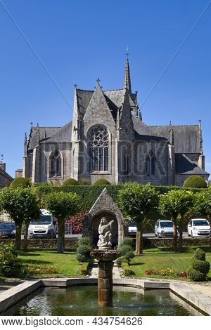 Guerlesquin, France - September 06 2021: The Public Garden On The Place Du Champ-de-bataille In Fron