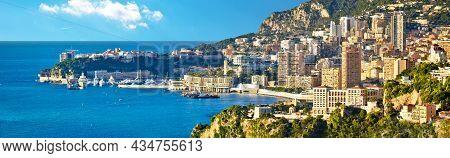Monaco Cityscape And Coastline Panoramic View, Cote D'azur, Principality Of Monaco
