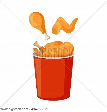Fried Chicken Legs And Wings In Red Bucket. Crispy Meat In Batter In Paper Packaging. Vector Isolate