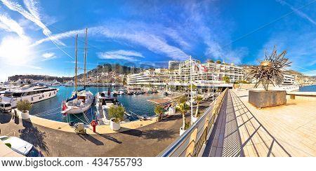 Monte Carlo, Monaco, January 15 2019: Yacht Club De Monaco Harbor Panoramic View. Club Founded In 19