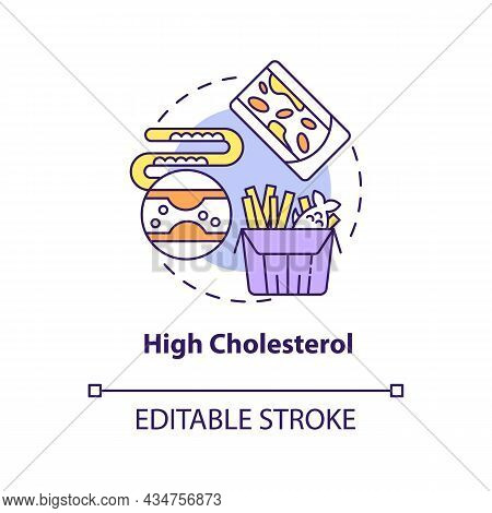 High Cholesterol Concept Icon. Hypertension Cause Abstract Idea Thin Line Illustration. Eating Fatty