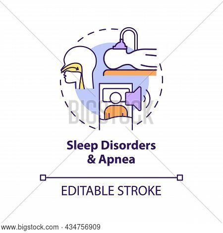 Sleep Disorders And Apnea Concept Icon. Hypertension Cause Abstract Idea Thin Line Illustration. Lou