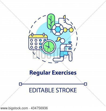 Regular Exercises Concept Icon. Hypertension Prevention Tip Abstract Idea Thin Line Illustration. Ae
