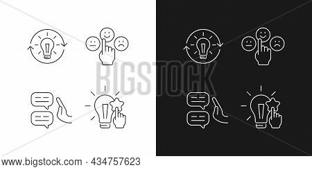 Logical And Rational Thinking Linear Icons Set For Dark And Light Mode. Emotional Maturity. Skeptica