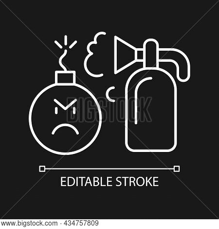 Extinguishing Emotions White Linear Icon For Dark Theme. Suppressing Feelings You Experience. Thin L