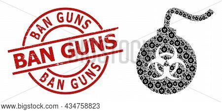 Red Round Seal Includes Ban Guns Caption Inside Circle. Vector Biohazard Bomb Fractal Is Created Fro