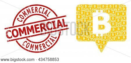 Red Round Badge Includes Commercial Tag Inside Circle. Vector Bitcoin Banner Collage Is Created Of R