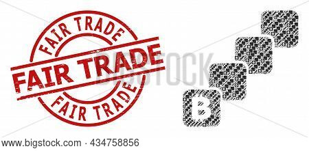 Red Round Stamp Includes Fair Trade Caption Inside Circle. Vector Bitcoin Blockchain Composition Is