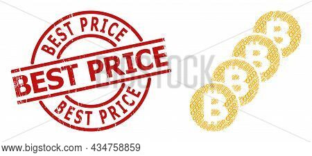 Red Round Badge Has Best Price Tag Inside Circle. Vector Bitcoin Coin Blockchain Composition Is Done