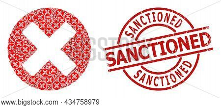Red Round Stamp Seal Contains Sanctioned Tag Inside Circle. Vector Cancel Sign Fractal Is Formed Wit