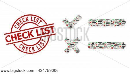 Red Round Stamp Includes Check List Tag Inside Circle. Vector Checklist Composition Is Done From Ran