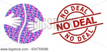 Red Round Badge Has No Deal Text Inside Circle. Vector Cooperation Hands Composition Is Formed From