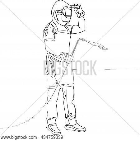 Male In Face Mask Welds With Argon Arc Welding. Welder Mounts In The Trunk Pipeline Electrochemical