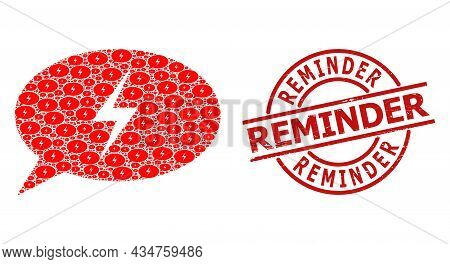 Red Round Seal Contains Reminder Caption Inside Circle. Vector Emergency Message Mosaic Is Designed
