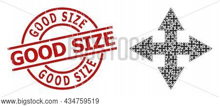 Red Round Badge Includes Good Size Tag Inside Circle. Vector Expand Arrows Fractal Is Composed Of Sc