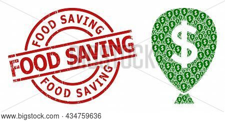 Red Round Stamp Has Food Saving Tag Inside Circle. Vector Financial Inflation Balloon Collage Is Des