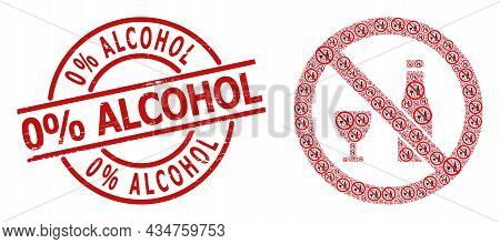 Red Round Stamp Seal Includes 0 Percent Alcohol Caption Inside Circle. Vector Forbid Alcohol Fractal