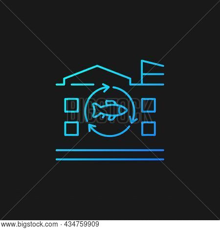 Fish Processing Plant Gradient Vector Icon For Dark Theme. Commercial Seafood Products Preparation A