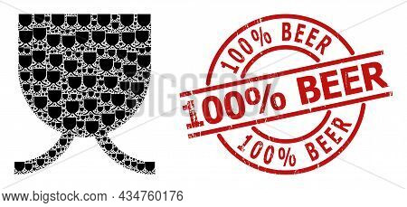 Red Round Stamp Includes 100 Percent Beer Title Inside Circle. Vector Full Mug Composition Is Done F