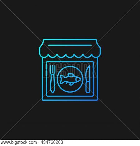 Seafood Restaurant Gradient Vector Icon For Dark Theme. Serving Fish And Shrimps. Mediterranean Cuis