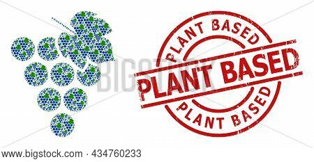 Red Round Stamp Seal Contains Plant Based Caption Inside Circle. Vector Grape Bunch Mosaic Is Compos