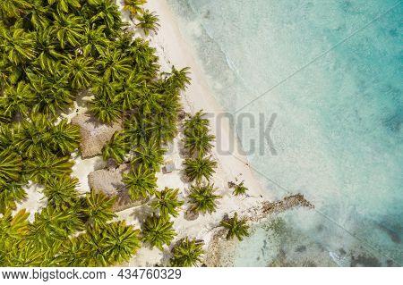 Beautiful Caribbean Beach On Saona Island, Dominican Republic. Aerial View Of Tropical Idyllic Summe