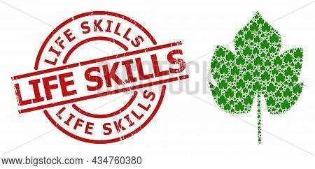 Red Round Stamp Seal Contains Life Skills Title Inside Circle. Vector Grapes Leaf Composition Is Cre