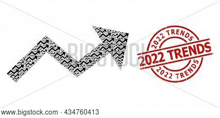 Red Round Stamp Contains 2022 Trends Title Inside Circle. Vector Growing Trend Arrow Collage Is Form