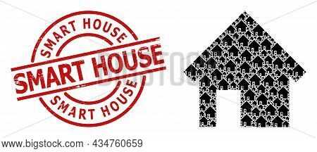 Red Round Stamp Seal Contains Smart House Tag Inside Circle. Vector House Collage Is Made Of Randomi