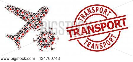 Red Round Badge Has Transport Title Inside Circle. Vector Infected Airplane Fractal Is Composed From