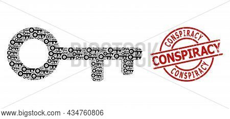 Red Round Stamp Seal Includes Conspiracy Title Inside Circle. Vector Key Fractal Is Organized With R