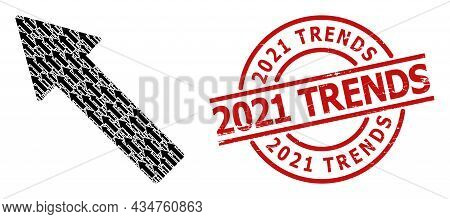 Red Round Seal Includes 2021 Trends Caption Inside Circle. Vector Left Up Arrow Composition Is Creat