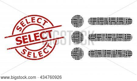 Red Round Stamp Seal Has Select Caption Inside Circle. Vector List Items Collage Is Constructed From