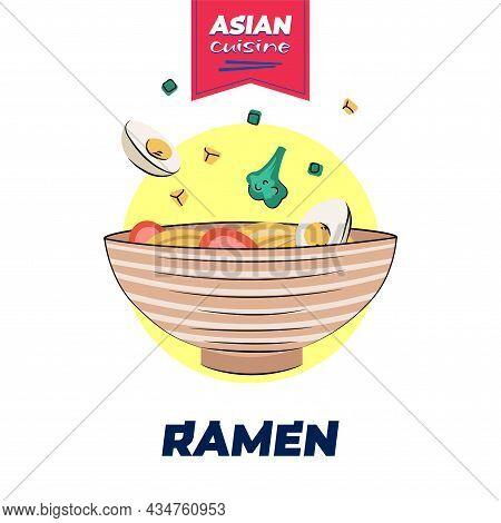 Japanese Food Ramen Bowl Poster Hand-drawn Design. Japan National Noodle Dish. Asian Cafe Menu Adver