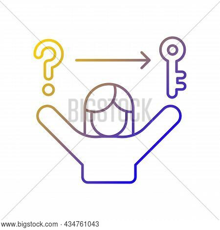 Problem Solving Skills Gradient Linear Vector Icon. Analytical And Logical Skills. Evaluation And De