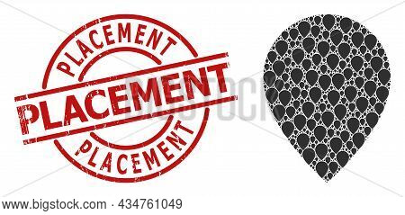Red Round Stamp Includes Placement Title Inside Circle. Vector Map Marker Collage Is Organized From