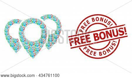 Red Round Badge Has Free Bonus Exciting. Tag Inside Circle. Vector Map Pointers Collage Is Designed
