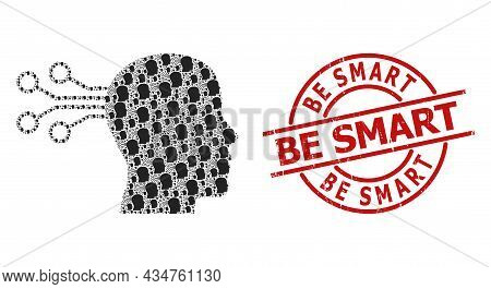 Red Round Stamp Seal Has Be Smart Text Inside Circle. Vector Mind Interface Composition Is Done With