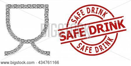 Red Round Seal Contains Safe Drink Caption Inside Circle. Vector Mug Fractal Is Done From Repeating