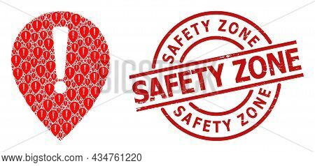Red Round Stamp Seal Contains Safety Zone Title Inside Circle. Vector Notice Map Pointer Composition