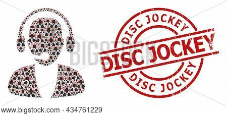 Red Round Stamp Seal Includes Disc Jockey Tag Inside Circle. Vector Online Operator Composition Is M