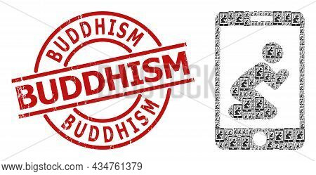 Red Round Seal Has Buddhism Caption Inside Circle. Vector Pray App Fractal Is Done Of Randomized Fra