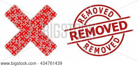 Red Round Stamp Includes Removed Tag Inside Circle. Vector Reject Cross Mosaic Is Done From Scattere