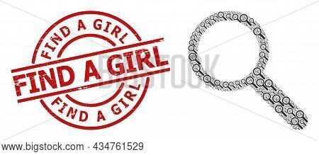 Red Round Stamp Contains Find A Girl Title Inside Circle. Vector Search Collage Is Created From Rand
