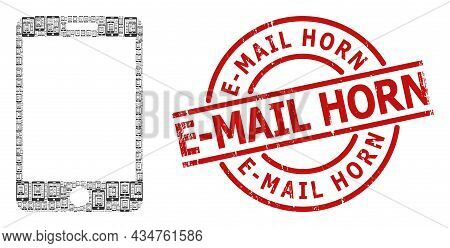 Red Round Stamp Seal Includes E-mail Horn Title Inside Circle. Vector Smartphone Collage Is Organize